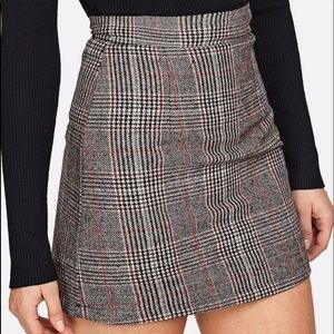 Wales Check zipper back skirt